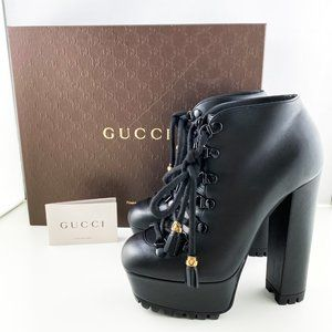 Gucci Black Leather Kayla Lace-Up Ankle Boots 37